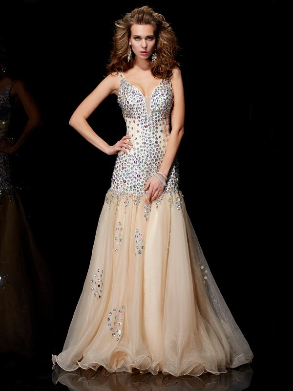 Champagne Organza V-neck Sheath/Column Floor-Length Dresses