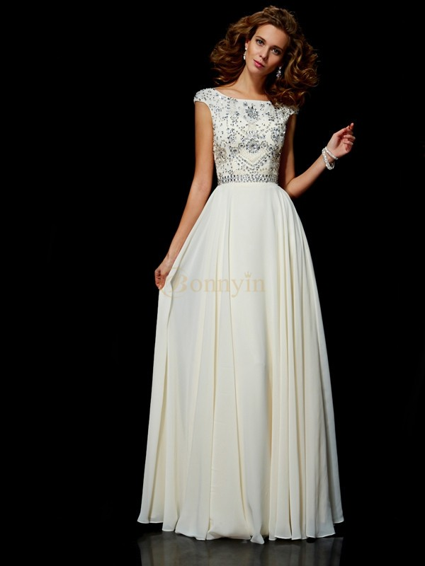 Ivory Chiffon High Neck Ball Gown Floor-Length Dresses