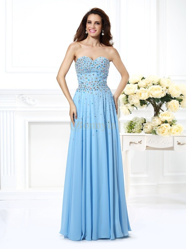 Light Sky Blue Chiffon Sweetheart A-Line/Princess Floor-Length Prom Dresses