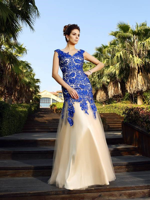 Champagne Net V-neck Sheath/Column Floor-Length Dresses