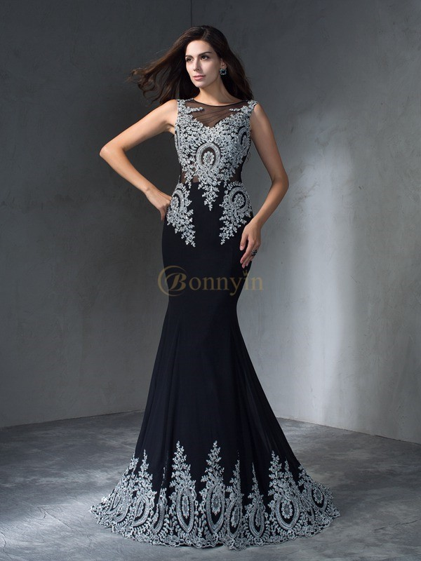 Black Chiffon Scoop Trumpet/Mermaid Sweep/Brush Train Prom Dresses