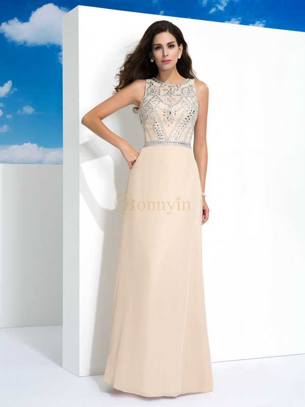 Champagne Chiffon Scoop A-Line/Princess Floor-Length Evening Dresses