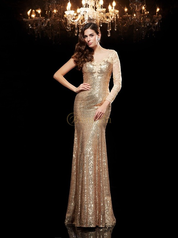 Gold Sequins Scoop Trumpet/Mermaid Floor-Length Evening Dresses