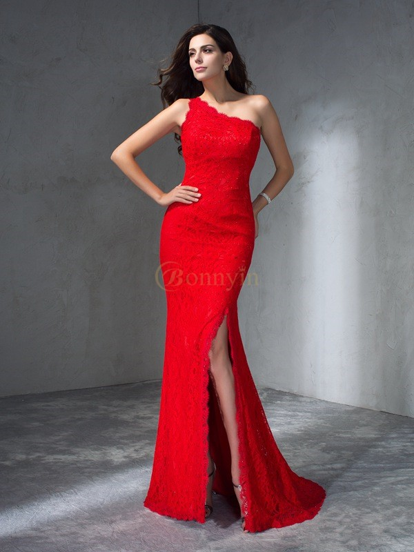 Red Lace One-Shoulder Trumpet/Mermaid Sweep/Brush Train Prom Dresses
