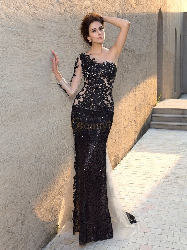 Black Lace One-Shoulder Sheath/Column Sweep/Brush Train Evening Dresses