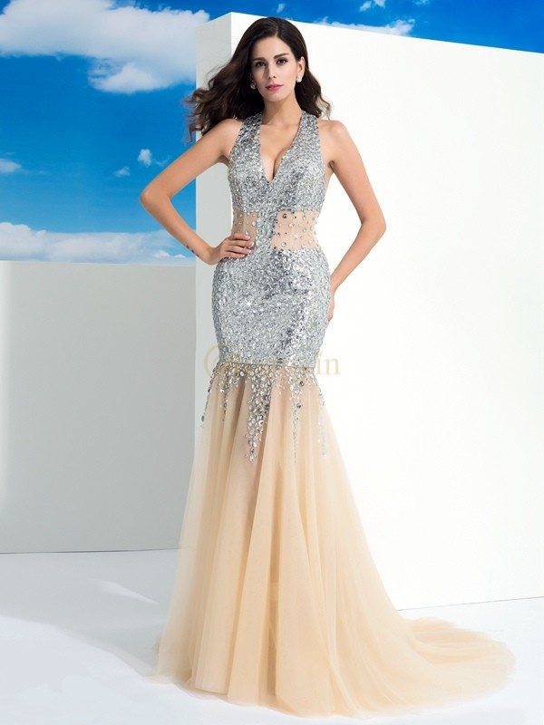 Champagne Net Halter Sheath/Column Sweep/Brush Train Evening Dresses