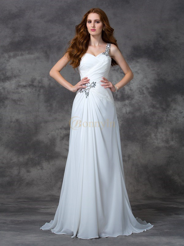 White Chiffon One-Shoulder A-line/Princess Sweep/Brush Train Evening Dresses