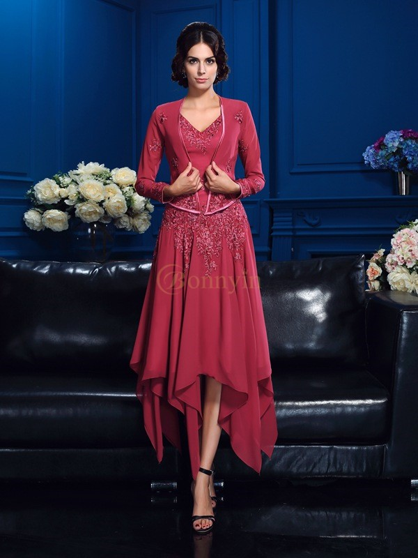 Red Chiffon V-neck A-Line/Princess Asymmetrical Mother of the Bride Dresses