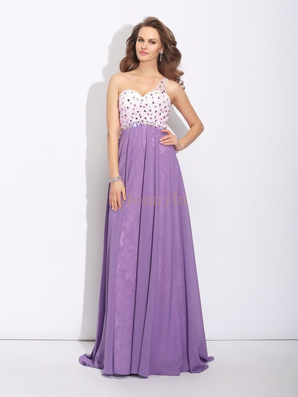 Regency Chiffon One-Shoulder A-Line/Princess Sweep/Brush Train Prom Dresses