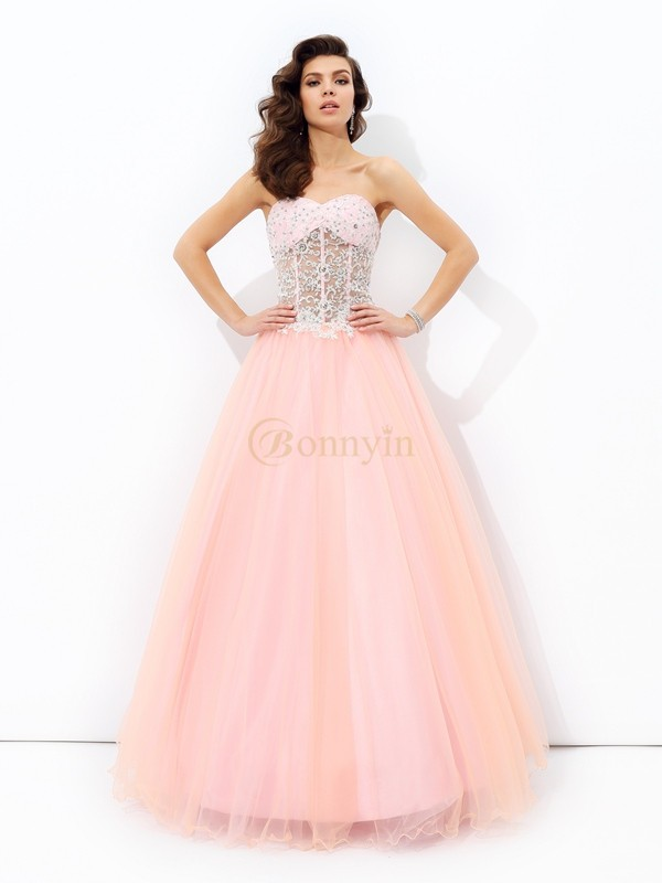 Pink Net Sweetheart A-line/Princess Floor-length Prom Dresses