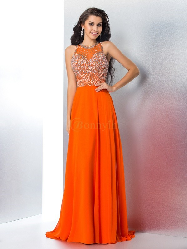 Orange Chiffon Scoop Trumpet/Mermaid Sweep/Brush Train Prom Dresses