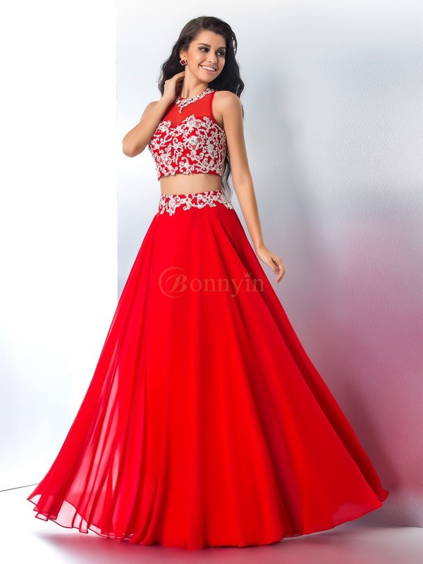 Red Chiffon Sheer Neck A-Line/Princess Floor-Length Prom Dresses