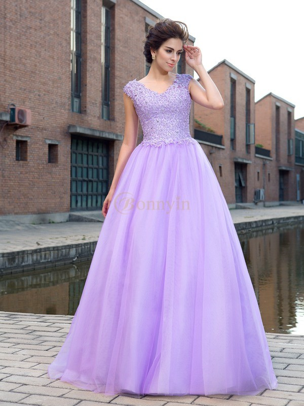 Lavender Net V-neck Ball Gown Floor-Length Prom Dresses