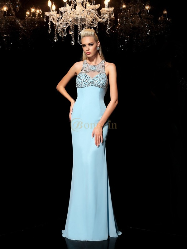 Blue Chiffon Sheer Neck Sheath/Column Floor-Length Prom Dresses