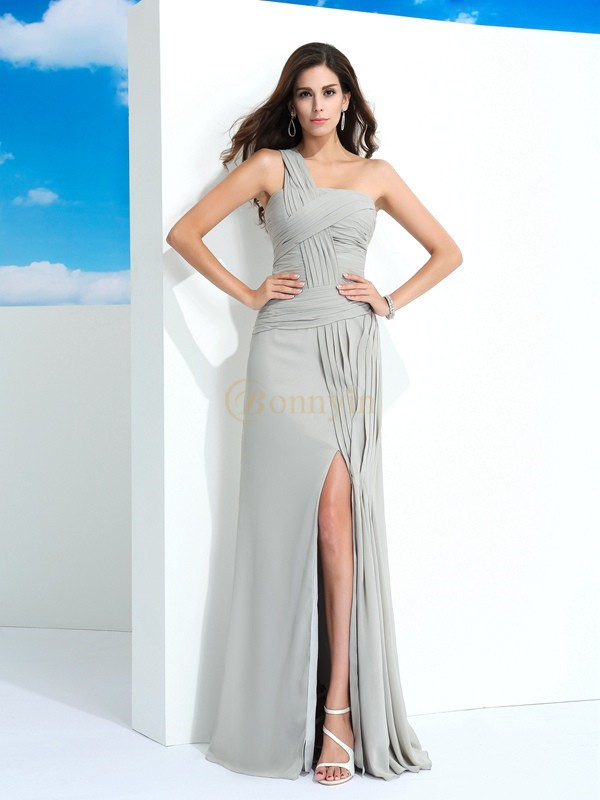 Grey Chiffon One-Shoulder Sheath/Column Floor-Length Prom Dresses