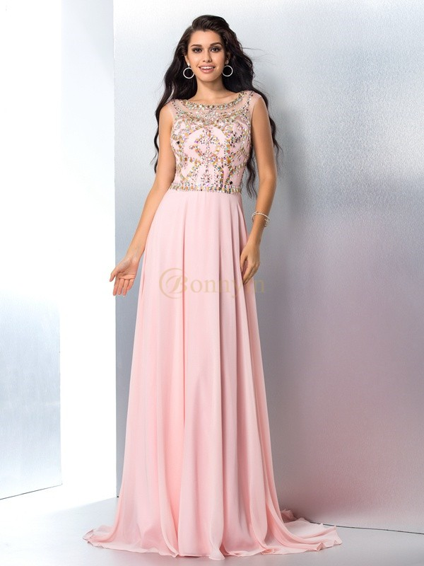 Pink Chiffon Scoop A-Line/Princess Sweep/Brush Train Prom Dresses