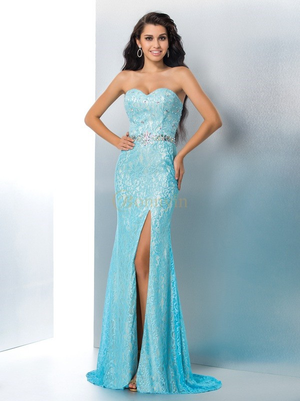 Blue Lace Sweetheart Trumpet/Mermaid Sweep/Brush Train Prom Dresses