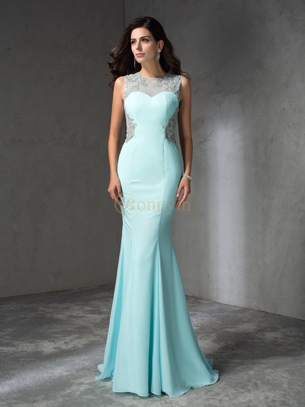 Light Sky Blue Chiffon Jewel Trumpet/Mermaid Sweep/Brush Train Prom Dresses