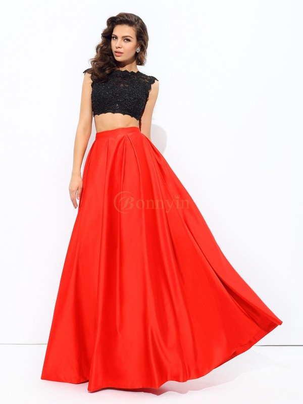 Red Satin Scoop A-line/Princess Floor-Length Prom Dresses