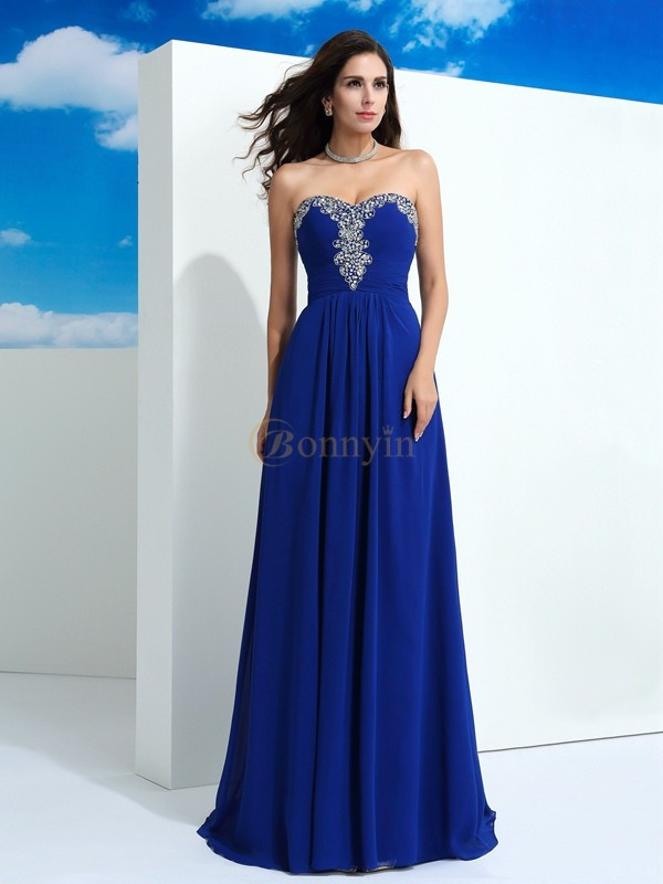Royal Blue Chiffon Sweetheart A-Line/Princess Sweep/Brush Train Prom Dresses