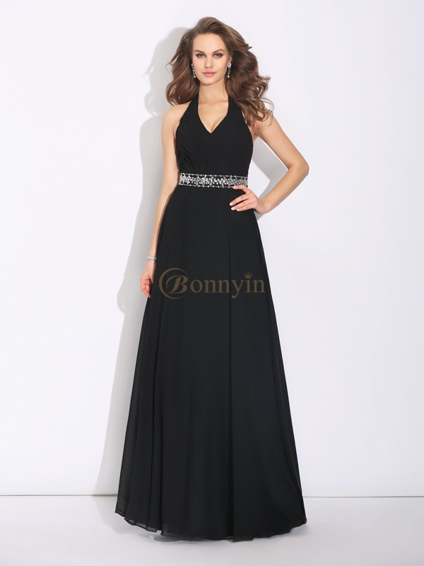 Black Chiffon Halter A-Line/Princess Floor-Length Bridesmaid Dresses