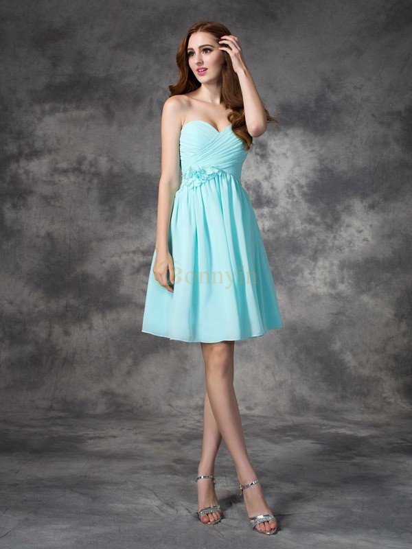 Blue Chiffon Sweetheart A-line/Princess Short/Mini Bridesmaid Dresses