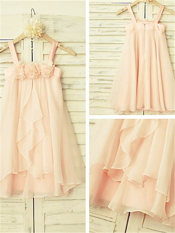 Pearl Pink Chiffon Spaghetti Straps A-line/Princess Tea-Length Flower Girl Dresses