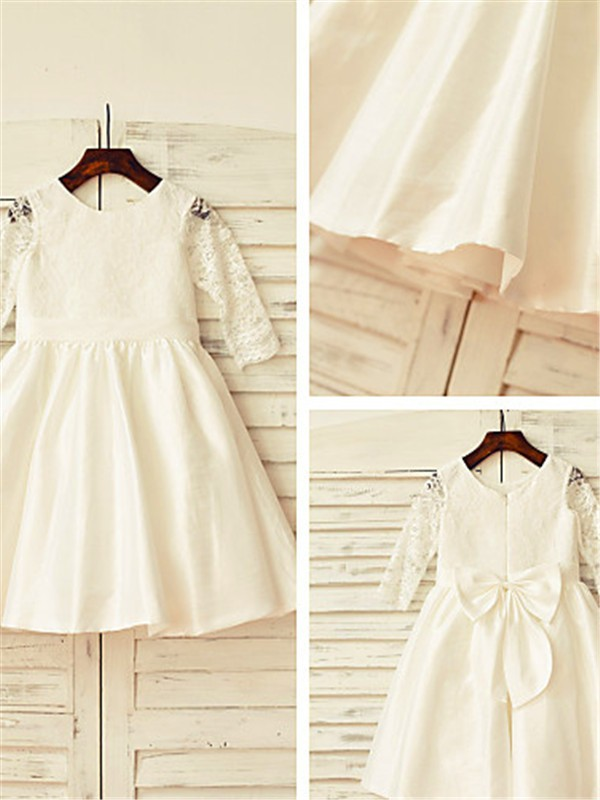 Ivory Satin Jewel A-line/Princess Tea-Length Flower Girl Dresses