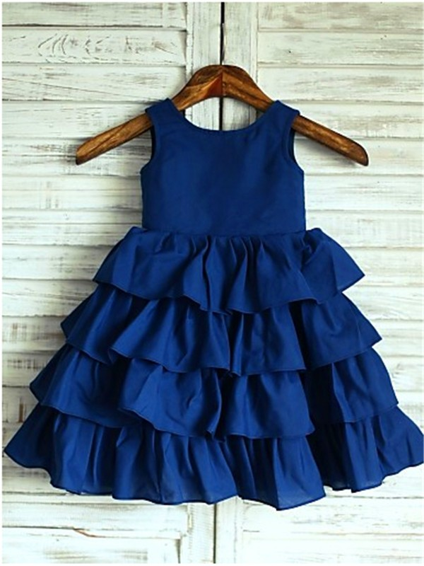 Dark Navy Chiffon Scoop A-line/Princess Tea-Length Flower Girl Dresses