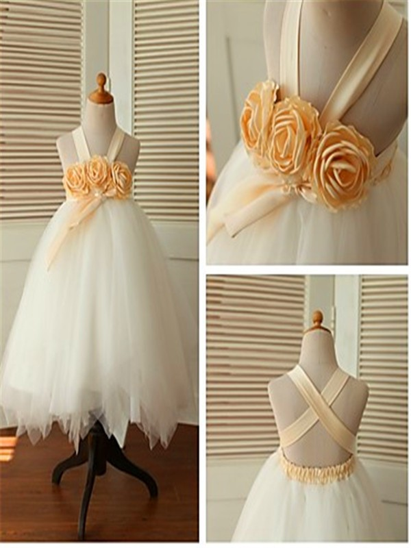 White Tulle Straps Ball Gown Tea-Length Flower Girl Dresses