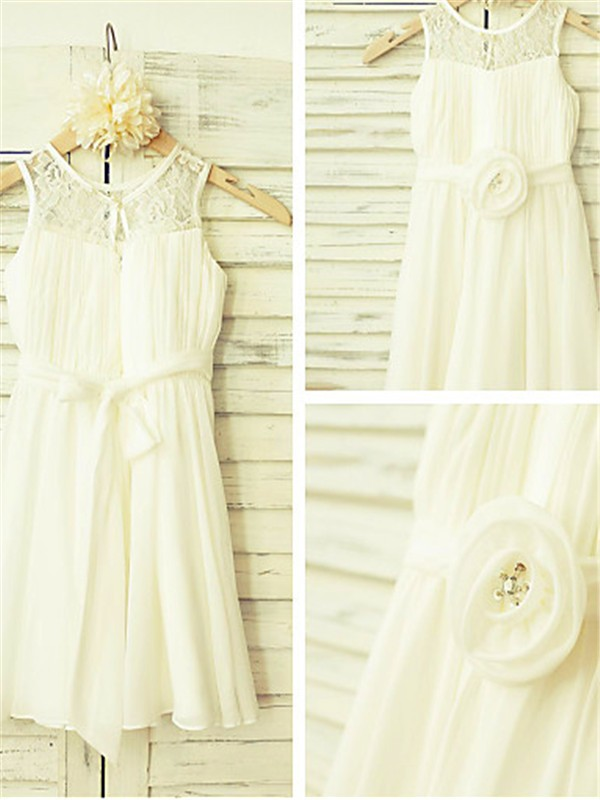 Ivory Chiffon Scoop A-line/Princess Floor-Length Flower Girl Dresses