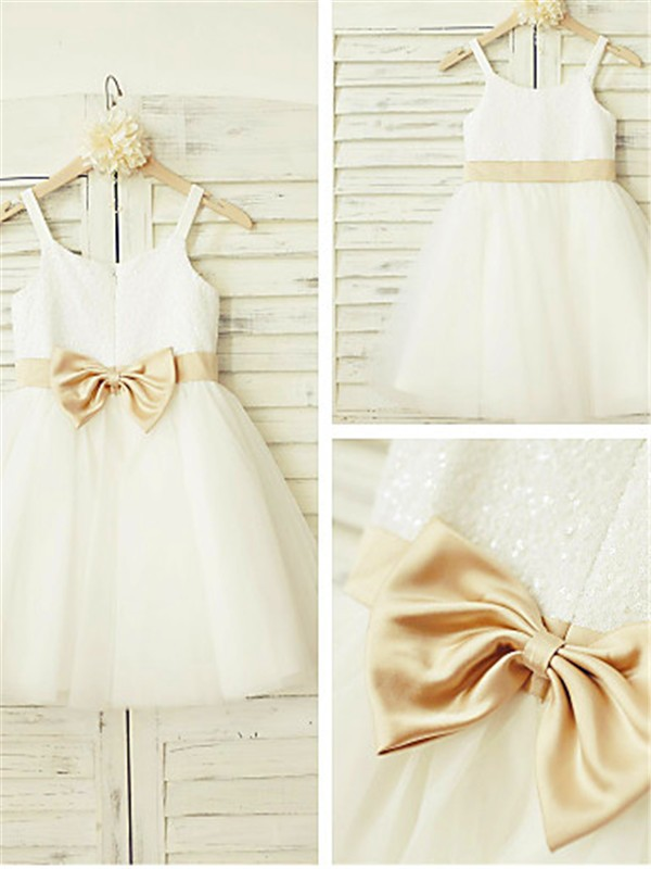 White Tulle Spaghetti Straps A-line/Princess Tea-Length Flower Girl Dresses