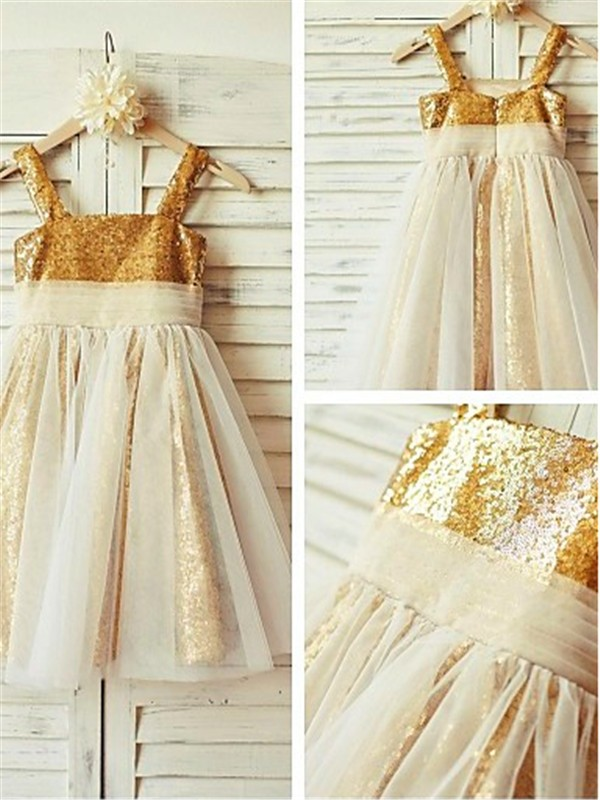 Sequins Spaghetti Straps A-line/Princess Floor-Length Flower Girl Dresses
