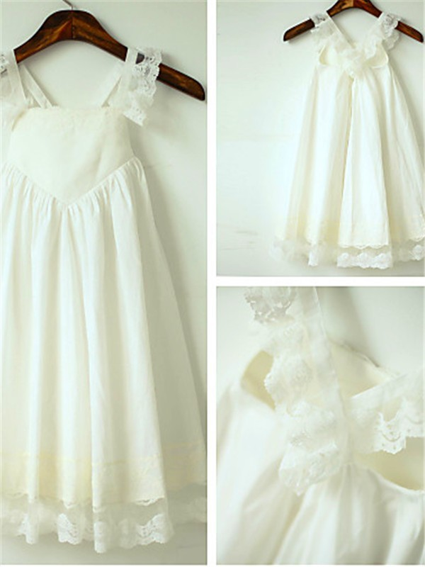 Ivory Chiffon Straps A-line/Princess Floor-Length Flower Girl Dresses