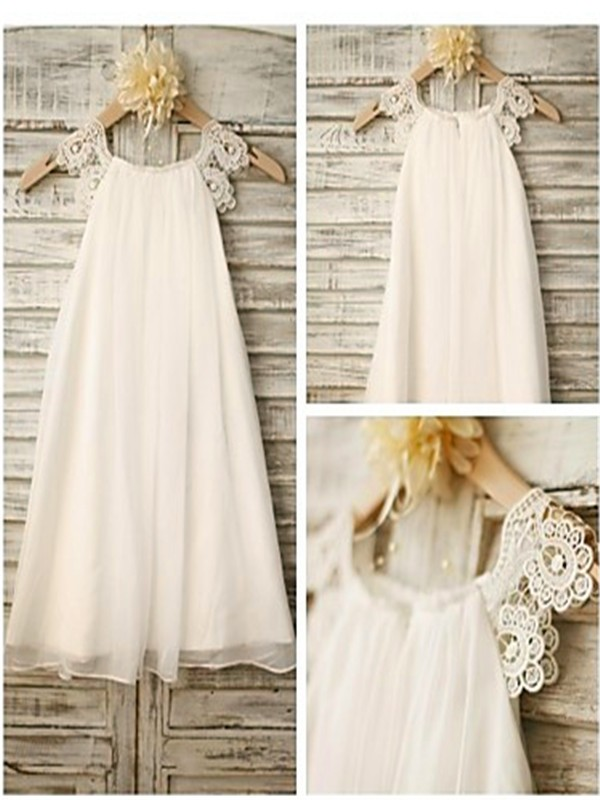 White Chiffon Scoop A-line/Princess Floor-Length Flower Girl Dresses