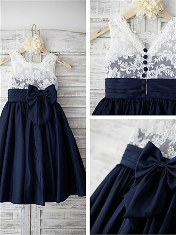Dark Navy Chiffon Straps A-line/Princess Tea-Length Flower Girl Dresses