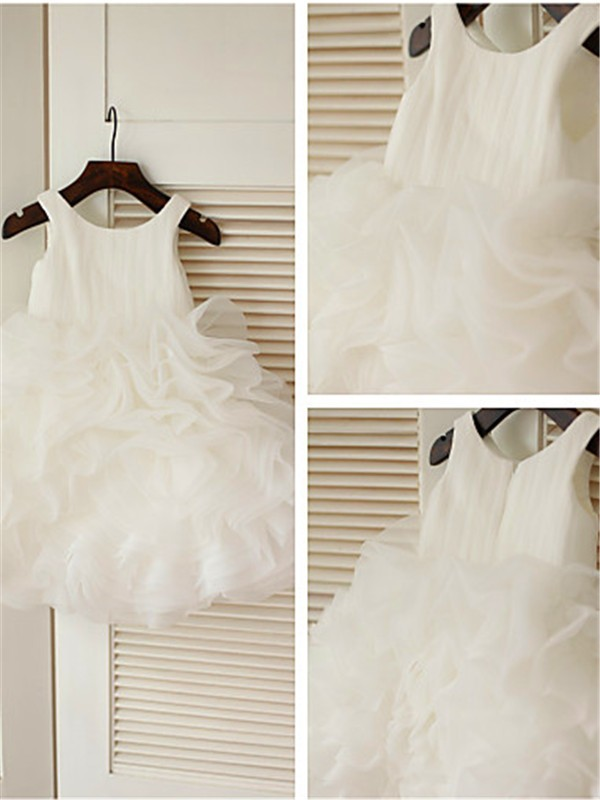 Organza Scoop Ball Gown Knee-Length Flower Girl Dresses