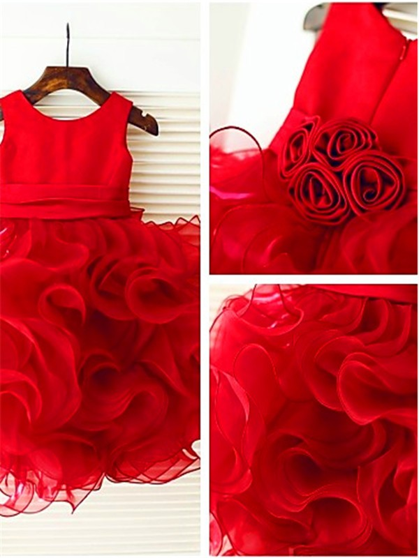 Red Organza Scoop Ball Gown Knee-Length Flower Girl Dresses