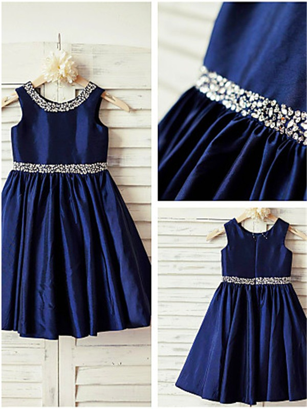 Dark Navy Taffeta Scoop A-line/Princess Tea-Length Flower Girl Dresses
