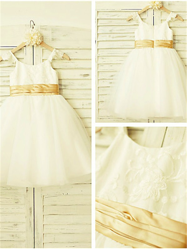 Ivory Tulle Spaghetti Straps A-line/Princess Tea-Length Flower Girl Dresses