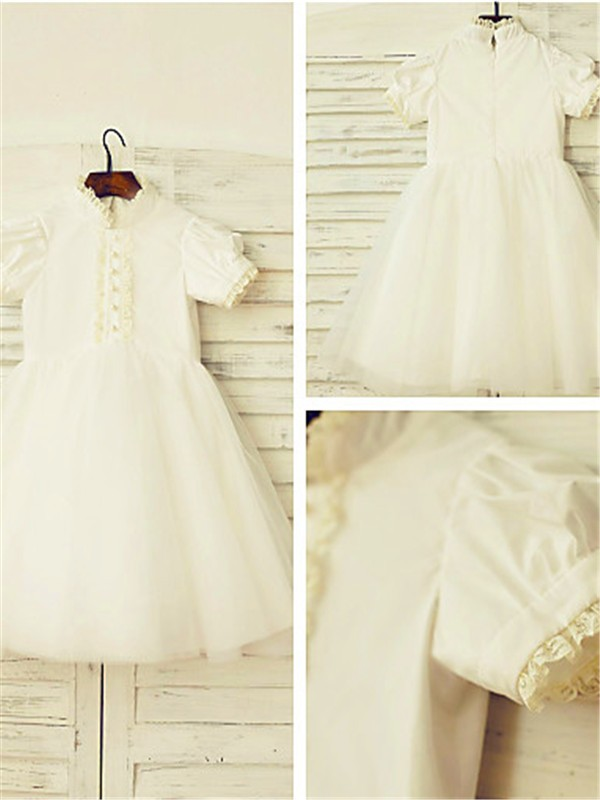 White Tulle High Neck A-line/Princess Tea-Length Flower Girl Dresses