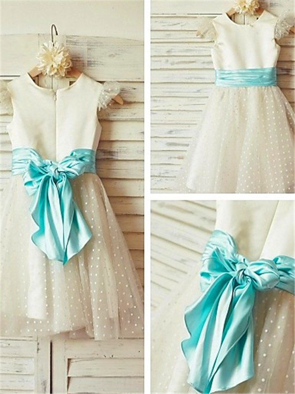 White Tulle Jewel A-line/Princess Tea-Length Flower Girl Dresses