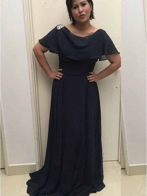 Dark Navy Chiffon Scoop A-Line/Princess Sweep/Brush Train Mother of the Bride Dresses