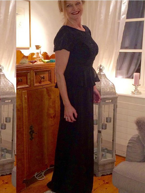 Black Chiffon Scoop Sheath/Column Floor-Length Mother of the Bride Dresses