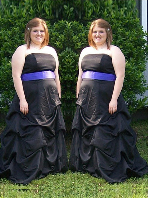 Black Satin Strapless A-Line/Princess Sweep/Brush Train Plus Size Dresses