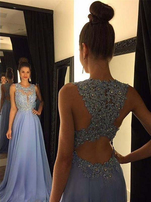 Light Sky Blue Chiffon Scoop A-Line/Princess Sweep/Brush Train Prom Dresses