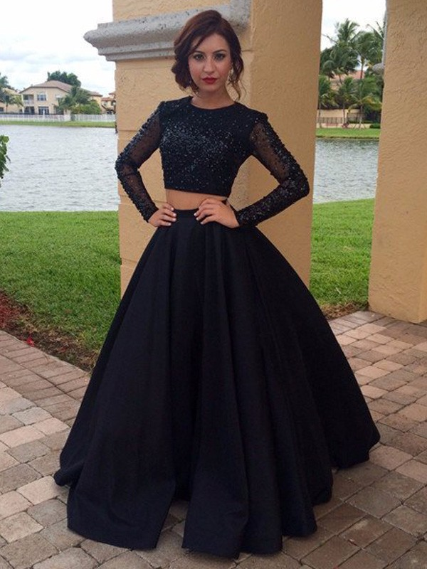 Black Satin Scoop Ball Gown Floor-Length Prom Dresses