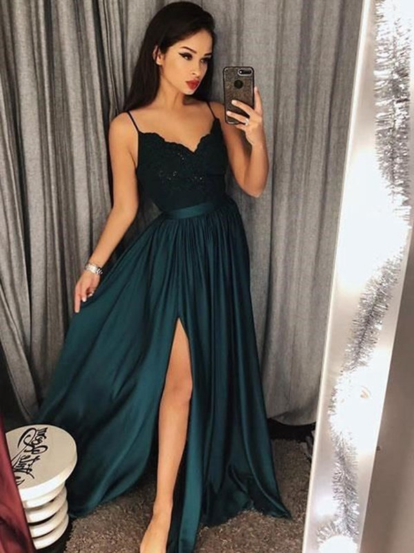 Dark Green Satin Spaghetti Straps A-Line/Princess Floor-Length Dresses