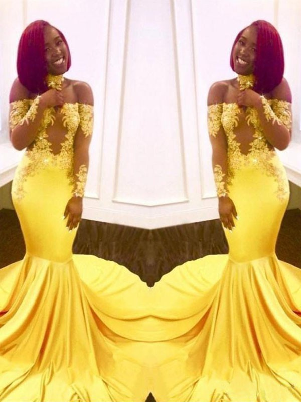 Yellow Satin Off-the-Shoulder Trumpet/Mermaid Sweep/Brush Train Dresses