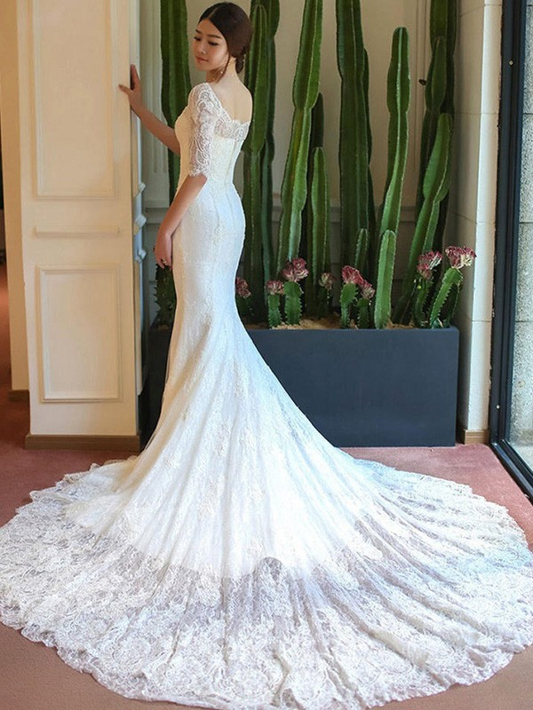 White Lace Square Trumpet/Mermaid Cathedral Train Wedding Dresses